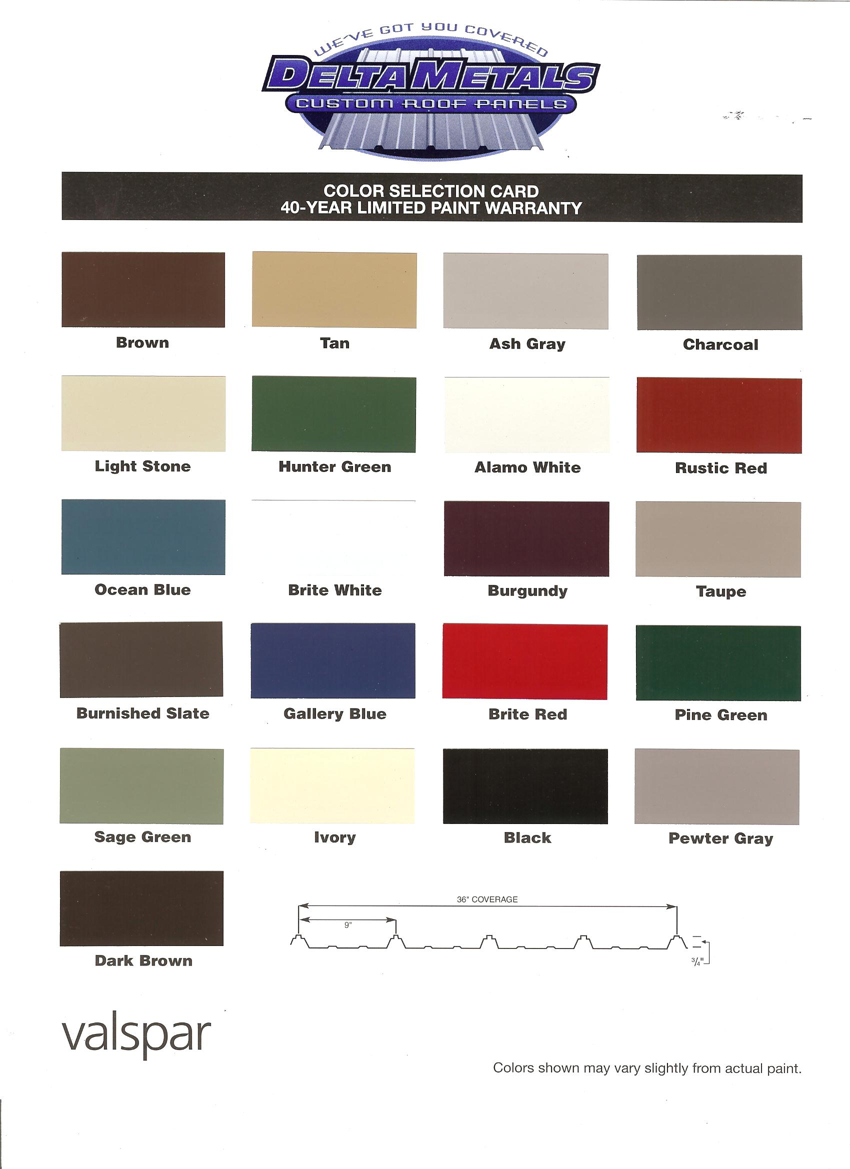 color chart - Qualitysteelroof.com